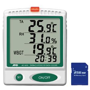 【予約受付中】【8月中旬以降入荷予定】エー・アンド・デイ [AD-5696] 温湿度 SDデータロガー / 熱中症指数モニター