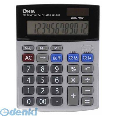 オーム電機 [07-7984] 2電源 税計算機能付 電卓 KCL-003