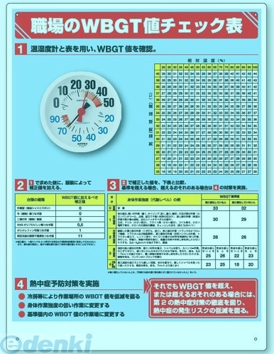【今期販売終了】ユニット [HO-515]「直送」 WBGT値チェック表 温湿度計付