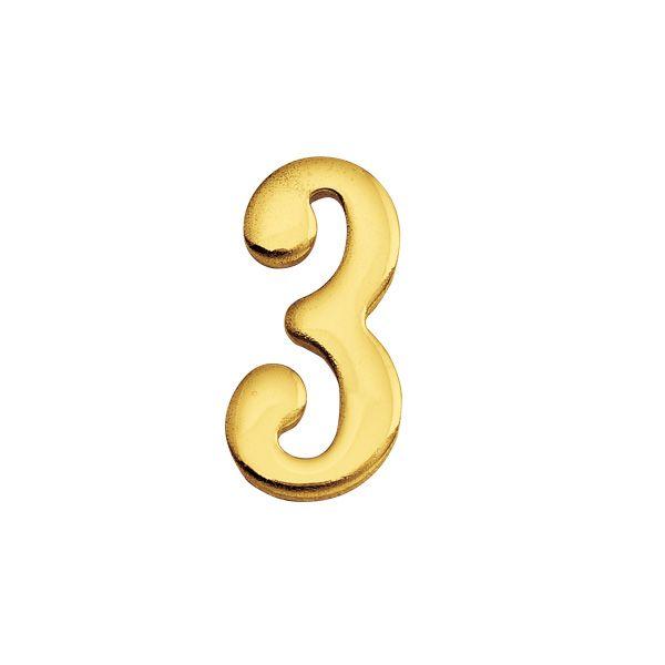 ゴーリキアイランド 820133 真鍮製切り文字 30サイズ 数字 ブラスナンバー 金色 30mm 3 真鍮 アンティーク レトロ 表札文字